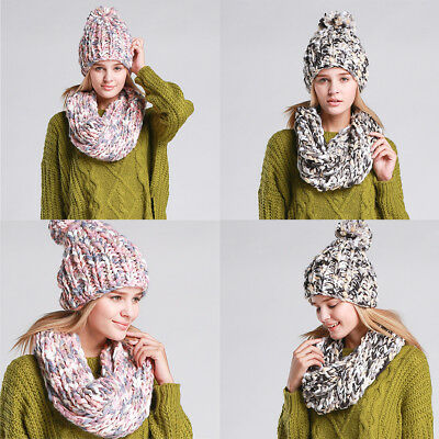 Women Girls Winter  Knitted Scarf and Hat Set Warm Knitting Thicken Skull caps