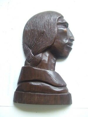 Wooden Carved Figure Head With Hook.