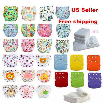 5/10 pcs +10 INSERTS Adjustable Reusable Lot Baby Washable Cloth Diaper Nappies