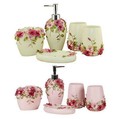 Country Style Resin 5Pcs Bathroom Accessories Set Soap Dispenser/Toothbrush@V5W4