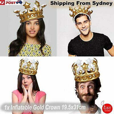 1x Inflatable Gold Crown Kids Adult Birthday Hats Cap King Queen Party Decoratio
