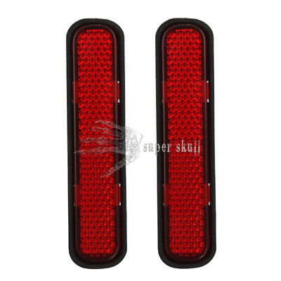 2x Red Oval Reflector Reflective Strip Stick Motorcycle Motorcross ATV Dirt Bike
