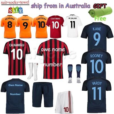 2018 Football Club Player Short Home Jersey for 3-14Y Kid Authorized Kit+Socks