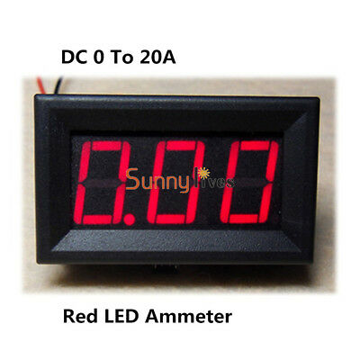 Red LED Panel Meter Mini Digital Ammeter DC 0 To 20A