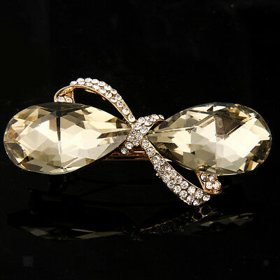 Crystal Rhinestone Bow Knot Barrette Hair Jewelry Pin Clip Accessories Gift