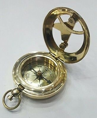 Round Vintage Antique Push Button Sundial Brass Pocket Compass Direction Travel
