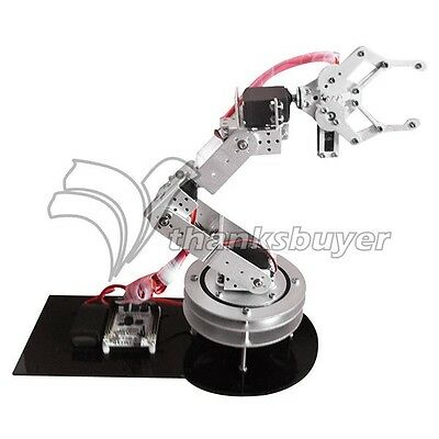 6DOF Axis Robotic Robot Metal Alloy Arm Clamp Claw Swivel Stand Mount Kit-Silver