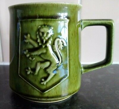 Vintage Holkham Pottery Ceramic Glazed Green Scotland Thistle Mug