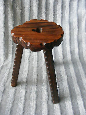 Decorative Vintage Antique French Rustic Style Carved Three Legged Milking Stool