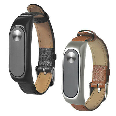 Replacement Leather strap Wrist Band Plus For Xiaomi Mi Band 2 Metal Case b@V1E4
