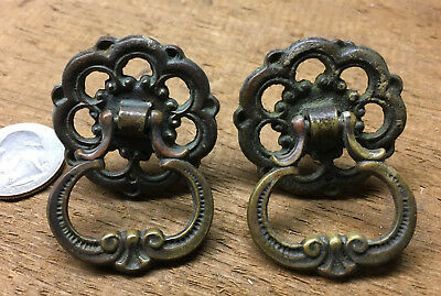 Pair of Vintage Victorian Brass ~ Bronze Ornate Drawer Pulls Handles ~ #4045