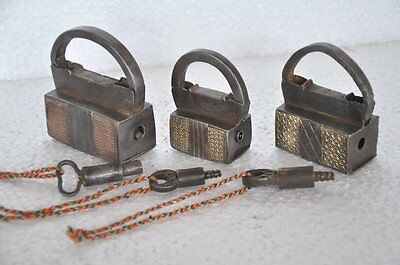 3 Pc Old Iron Handcrafted Brass Fitted Unique Shape Screw System Padlocks