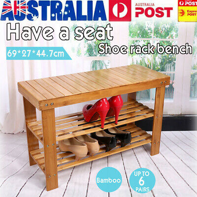 2Tier Natural Bamboo Multifunction Shoe Rack Storage Organiser Bench Shelf Stand