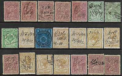 VICTORIA 1879-1900 STAMP DUTY Arms 1d (8),1/-,10/- (3) 5/- Purple/Yellow (9)mss