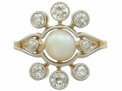 Antique Pearl and 1.02Ct Diamond 18k Yellow Gold Cluster Ring 1930s Size 5.7/8
