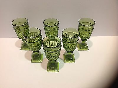 "6 Depression Indiana Goblets Green 5.5"" tall square base"