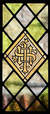 Stained glass leaded panel with ecclesiastical theme