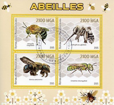 Madagascar 2015 CTO Bees Bee 4v M/S Abeilles Insects Stamps