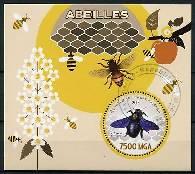 Madagascar 2015 CTO Bees Bee 1v S/S Abeilles Insects Stamps