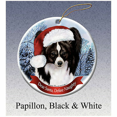 Papillon Black Howliday Porcelain China Dog Christmas Ornament
