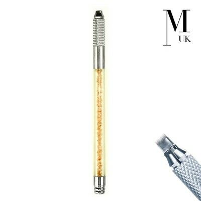 Microblade Needle Holder - SPMU Tool - Manual Microblading Pen - Crystal Gold
