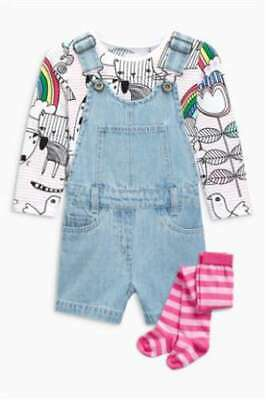 NEXT Dungaree Set & Tights Girls Age 5-6 Rainbow Unicorn Outfit  BNWT