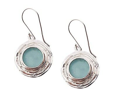 Ancient  925 Sterling Silver Roman Glass Earrings Fragments