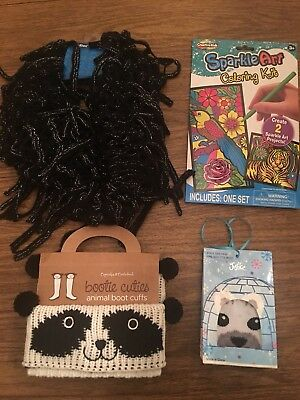 Justice For Girls Socks Loop Scarf Sparkle Art craft Panda Boot Cuffs 6 7 8 10
