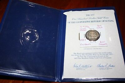 Guyana 1976 100 dollar gold coin - 2.95 grams pure gold content