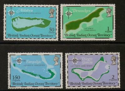 British Indian Ocean Terr Sg81/84 1975 Territory Maps   Mnh