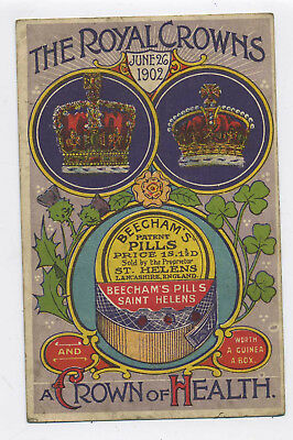 Antique Beecham's Pills Advertising Promo Coronation Card 1902 Three Crowns A6
