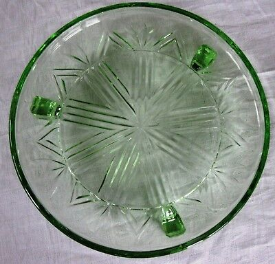Vintage Green Pressed Glass Cake stand