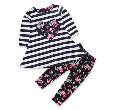 Kids Baby Girls Outfits Clothes T-shirt Tops Dress +Long Floral Pants 2PCS Set