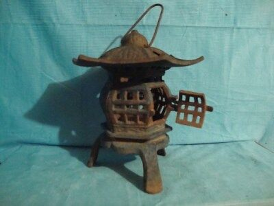 vintage oriental  cast iron pagoda lantern lamp candle holder/3 hearts on roof