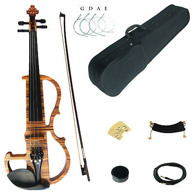 Kinglos Full 4/4 Colored Solid Wood Professional Electric / Silent Violin Kit