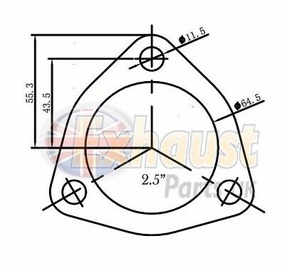 "63.5mm 2.5"" Exhaust Flange Gasket 3 Bolt Triangular Repair Section Joiner Seal"