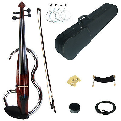 Kinglos Full 4/4 Colored Solid Wood Advanced Metal Electric / Silent Violin Kit