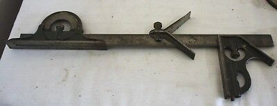 VINTAGE Lufkin Rule Co. 18'' COMBINATION MACHINIST SQUARE 3PC