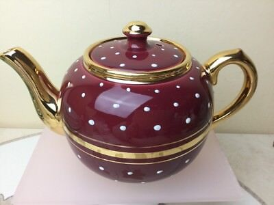 Sudlows Burslam Vintage Red White Gold Tea Pot Stunning