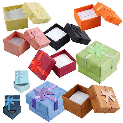 24 Pcs Ring Earring Jewelry Display Gift Box Bowknot Square Case yellow M9F@A1N1