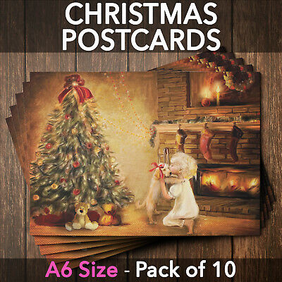Postcards Christmas Cards with Envelopes A6 Glossy Front Home - Pack of 10