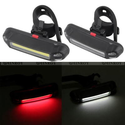 100LM Red White Bicycle Front Rear Light USB Rechargeable LED Bike Back Lamp