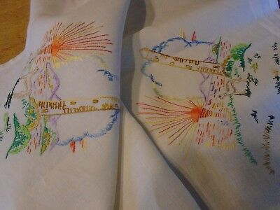 Vintage Hand Embroidered Linen  Tablecloth -  Irish Round Tower - 33  Ins Square