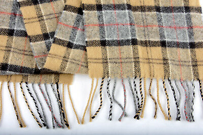 Childrens Wool Scarf by BARBOUR Lambswool Tartan Fringe Wrap NWT!