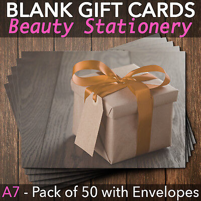 Gift Voucher Card Massage Beauty Nail Hairdressers Christmas Lash x50 Envelopes