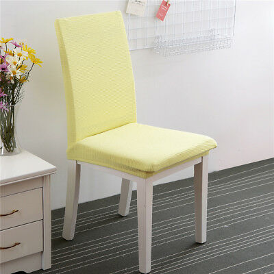 Simple Seat Covers Kitchen Bar Dining Chair Cover Hotel Wedding Decor Yellow