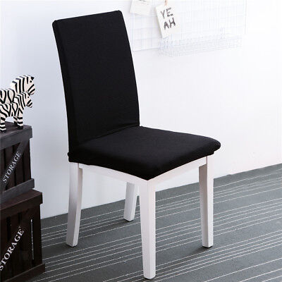 Simple Seat Covers Kitchen Bar Dining Chair Cover Hotel Wedding Decor Black