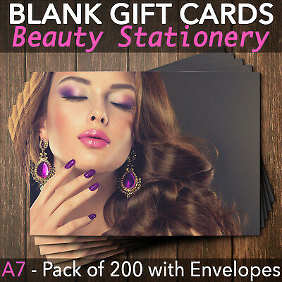 Gift Voucher Card Massage Beauty Nail Salons Hairdressers x200 Envelopes PH