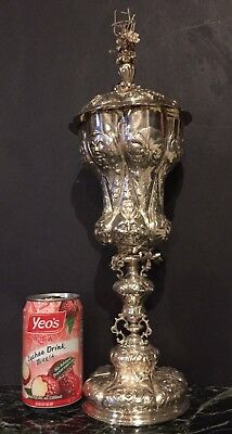 """Antique (18C) AMAZING Huge (17 ½ """") German/Austrian Silver Chalice with Cover."""