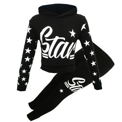 New Girls Kids Minx Girls Black Star Hooded Tracksuit 7 8 9 10 11 12 13 Years